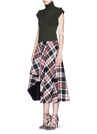 Figure View - Click To Enlarge - Alexander McQueen - Asymmetric hem tartan plaid wool midi skirt