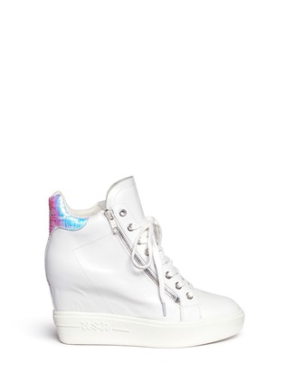 Main View - Click To Enlarge - Ash - 'Atomic' holographic collar leather wedge sneakers