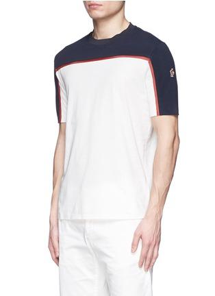 Front View - Click To Enlarge - Moncler Grenoble - Cotton piqué mesh colourblock T-shirt