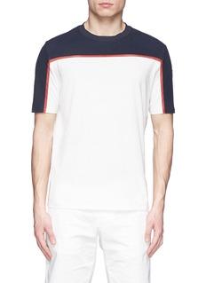 Moncler GrenobleCotton piqué mesh colourblock T-shirt