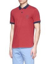 Contrast collar cotton polo shirt