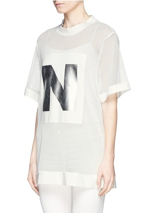 Front View - Click To Enlarge - NICOPANDA - Foil logo mesh oversize T-shirt