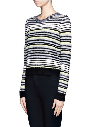 Front View - Click To Enlarge - Proenza Schouler - Textured stripe button-back sweater