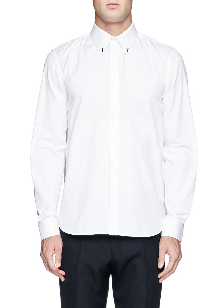 givenchy 39 17 39 metal plate poplin shirt white long sleeve shirts shirts menswear lane. Black Bedroom Furniture Sets. Home Design Ideas