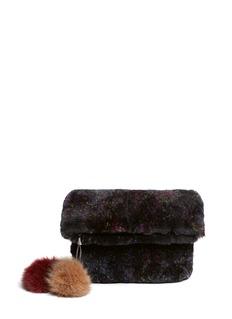 HOCKLEY'Parrot' rex rabbit pouch with fox fur pompom charm