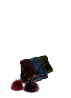 HOCKLEY 'Parrot' mink pouch with fox fur pompom charm