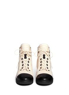 STUART WEITZMAN'Zip It' contrast toe cap leather sneakers