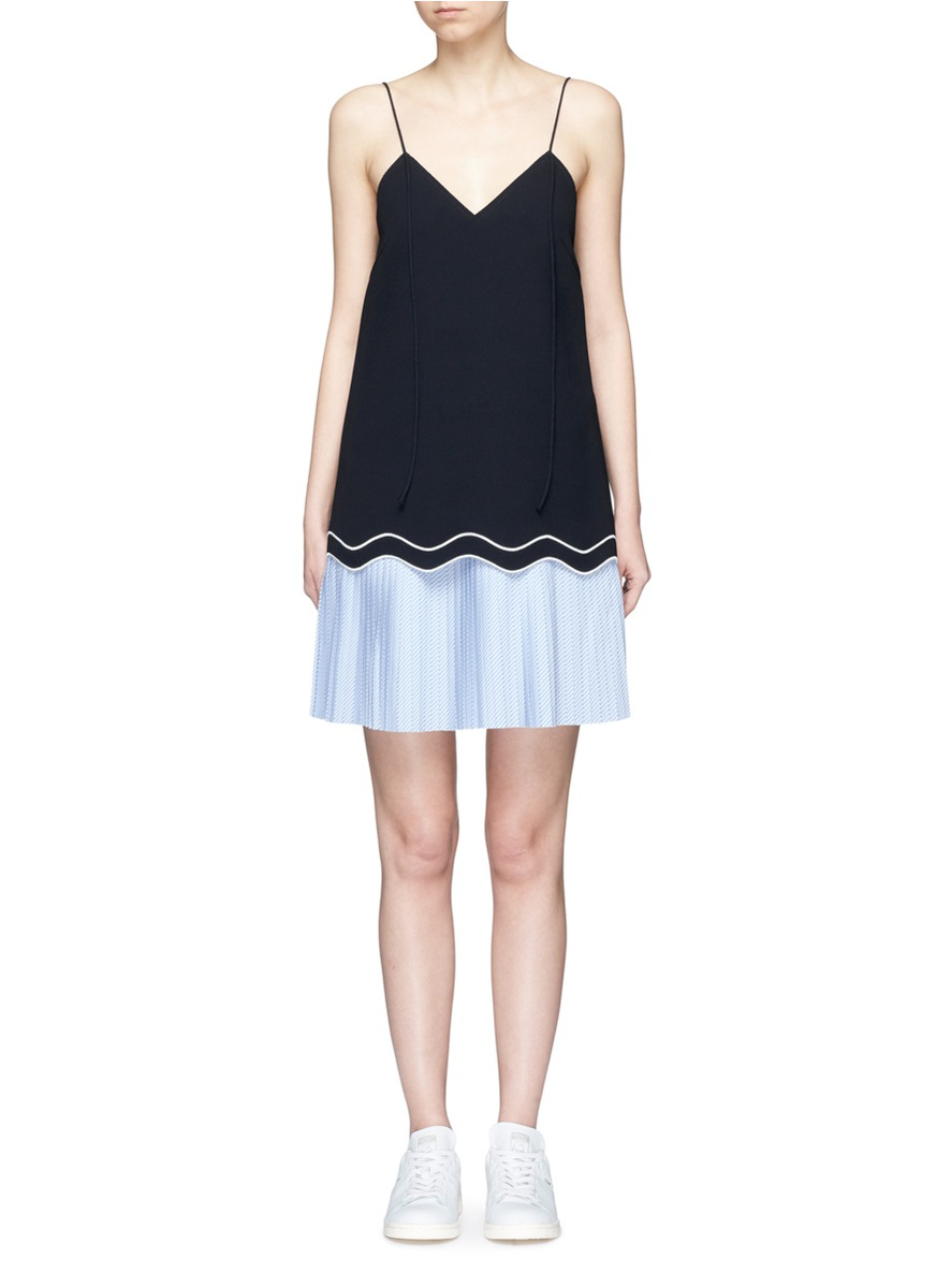 Buy Pleated stripe underlay wavy hem crepe dress by Comme Moi womens clothes online