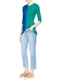 Ports 1961 Colourblock loop hem rib knit sweater