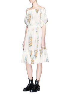 Alexander McQueen Floral print crepe smocked off-shoulder dress