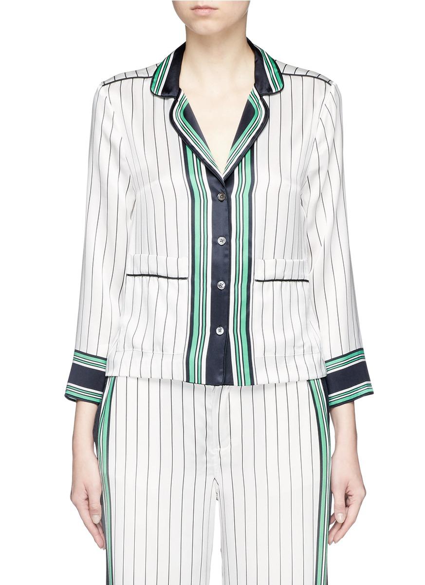 x Kate Moss Lake stripe print silk pyjama shirt by Equipment