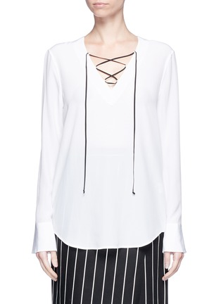 Main View - Click To Enlarge - Equipment - 'Avianna' lace-up silk top