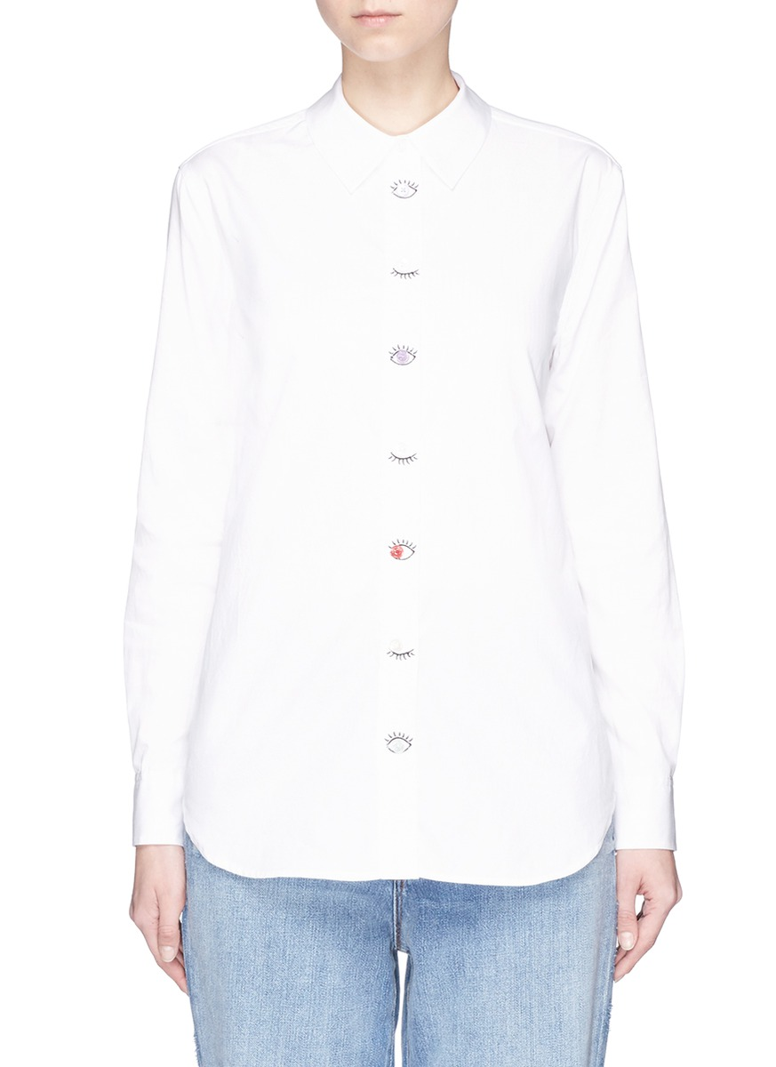 Reese eye embroidered placket shirt by Equipment