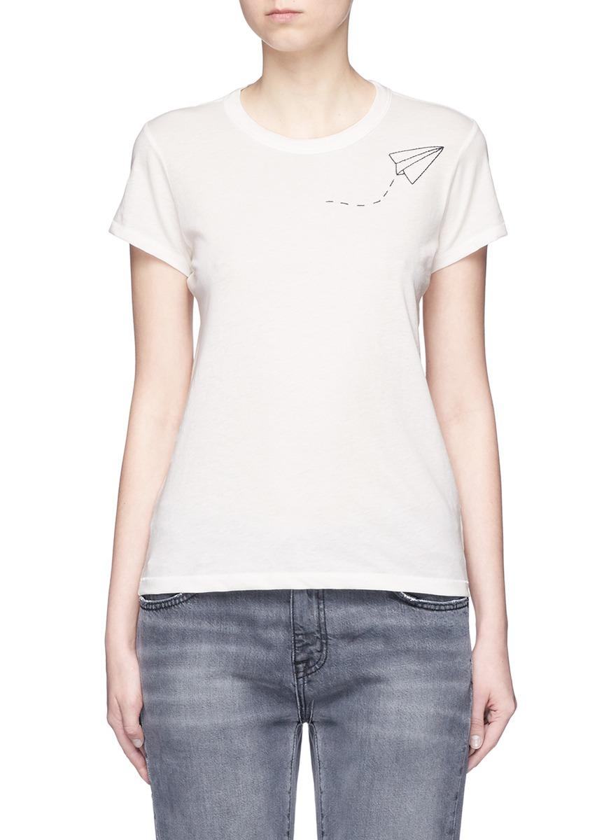 Paper plane embroidered Pima cotton T-shirt by rag & bone/JEAN