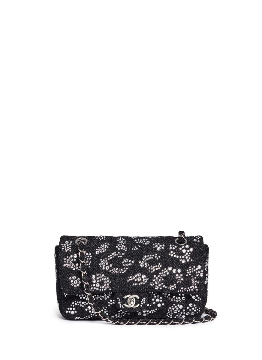 Strass leopard spot tweed flap bag by Vintage Chanel