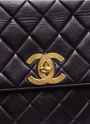 - Vintage Chanel - Square quilted lambskin leather big CC flap bag