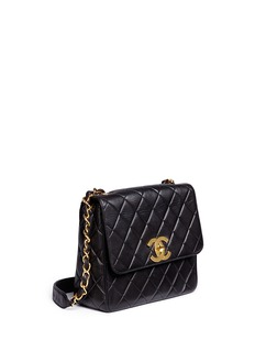 Vintage Chanel Square quilted lambskin leather big CC flap bag