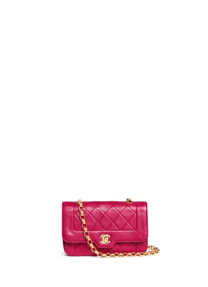 Border tab mini quilted leather flap bag by Vintage Chanel