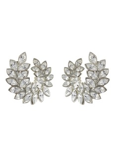 Kenneth Jay Lane Glass crystal leaf clip earrings