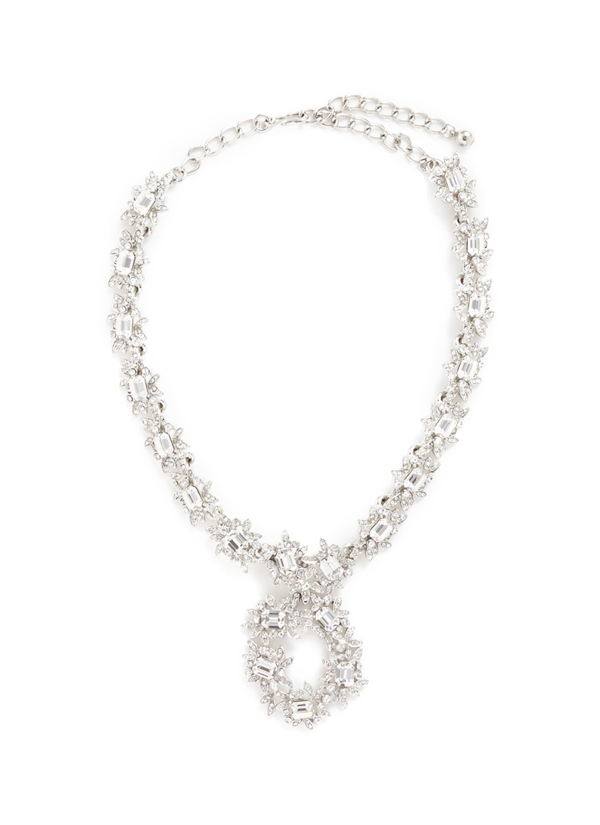 Glass crystal flower collar necklace by Kenneth Jay Lane