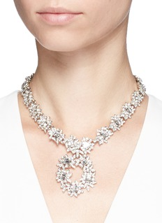 Kenneth Jay Lane Glass crystal flower collar necklace