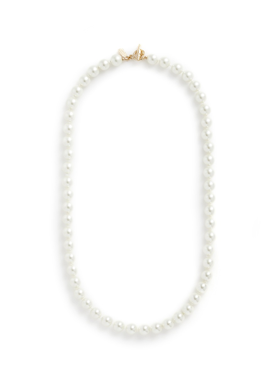 Glass pearl strand necklace by Kenneth Jay Lane