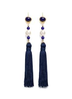 Kenneth Jay LaneGlass cabochon pearl tassel drop earrings