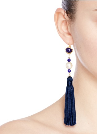 Figure View - Click To Enlarge - Kenneth Jay Lane - Glass cabochon pearl tassel drop earrings
