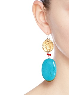 Kenneth Jay Lane Marbled stone metal plate drop earrings