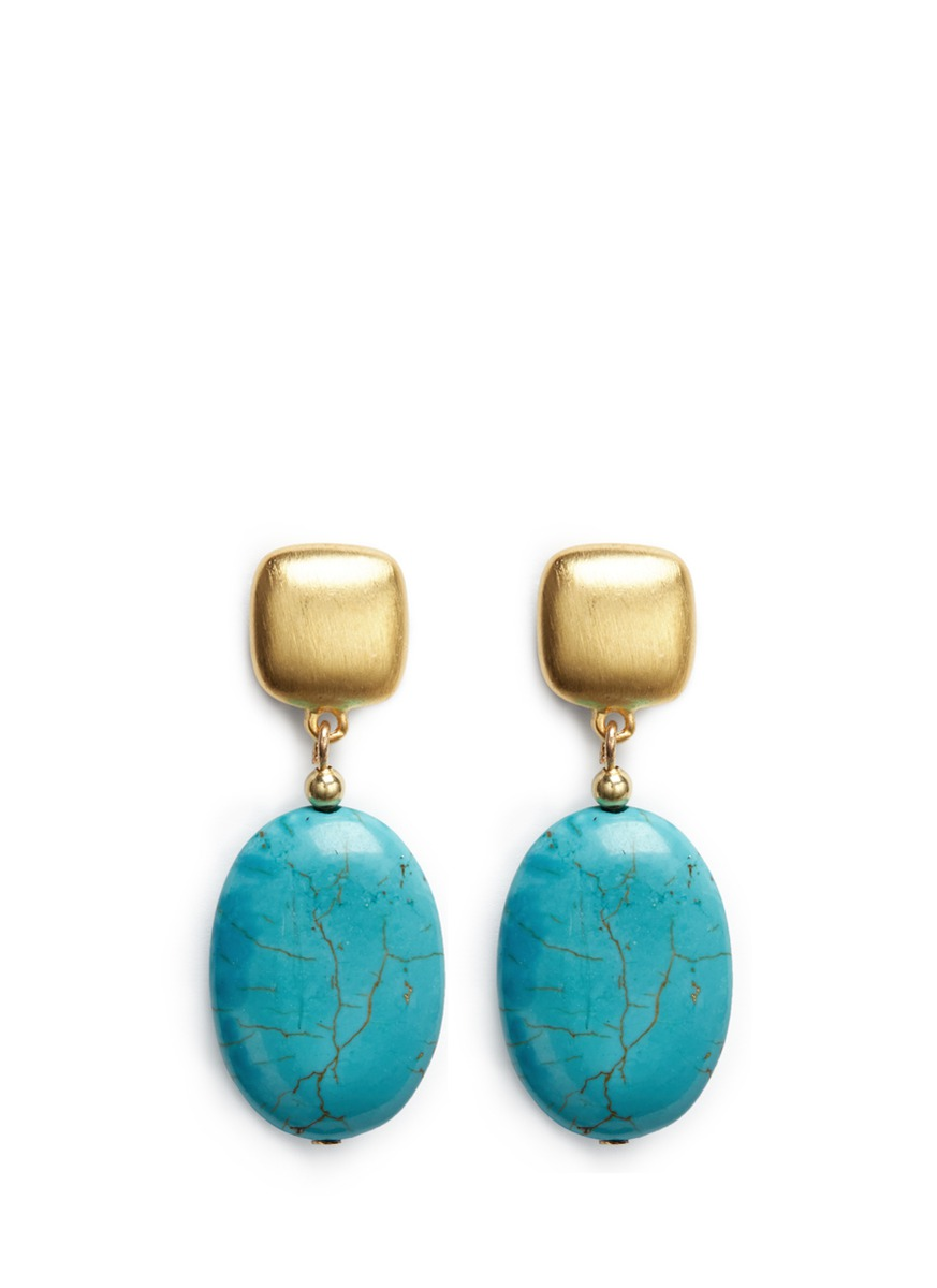 Marbled stone drop earrings by Kenneth Jay Lane