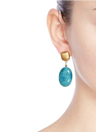 Figure View - Click To Enlarge - Kenneth Jay Lane - Marbled stone drop earrings