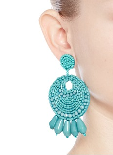 Kenneth Jay LaneBeaded gypsy hoop earrings