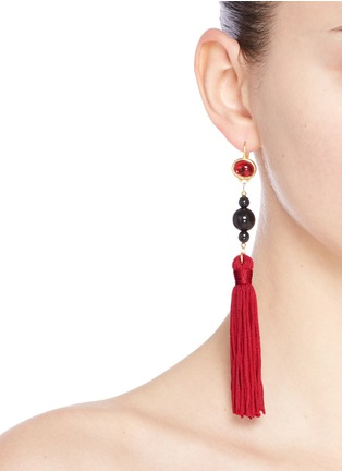 Figure View - Click To Enlarge - Kenneth Jay Lane - Glass cabochon tassel drop earrings