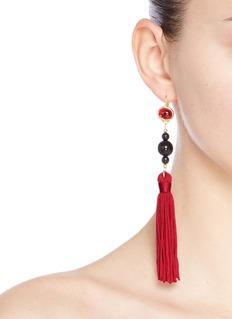 Kenneth Jay LaneGlass cabochon tassel drop earrings