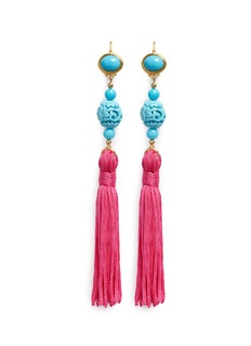Kenneth Jay Lane Carved bead tassel drop earrings