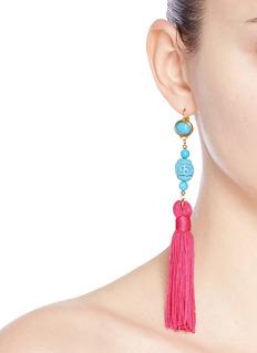 Kenneth Jay LaneCarved bead tassel drop earrings
