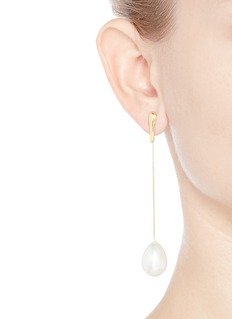 Kenneth Jay Lane Glass pearl drop curb chain earrings