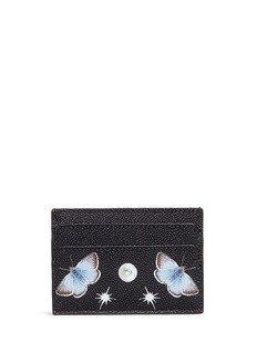 Alexander McQueen Skull nocturnal butterfly print leather card holder
