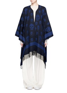 Alexander McQueenSkull jacquard wool-cashmere fringed cape