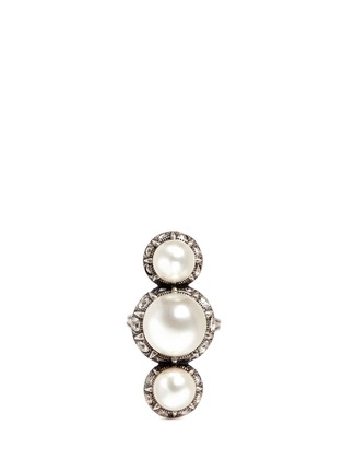 Lanvin - Inset crystal glass pearl ring