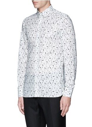 Front View - Click To Enlarge - Lanvin - 'Evolutive' slim fit footsteps print shirt