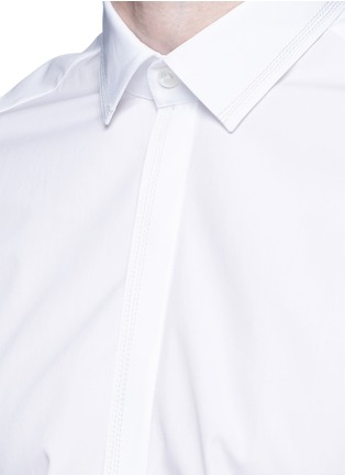 Detail View - Click To Enlarge - Lanvin - Slim fit collar trim tuxedo shirt