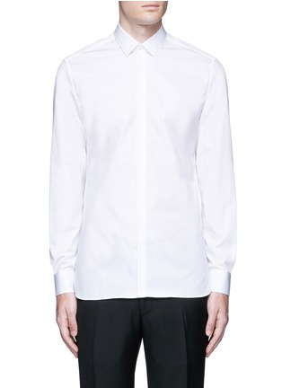 Main View - Click To Enlarge - Lanvin - Slim fit collar trim tuxedo shirt