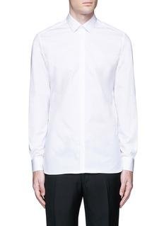 LanvinSlim fit collar trim tuxedo shirt