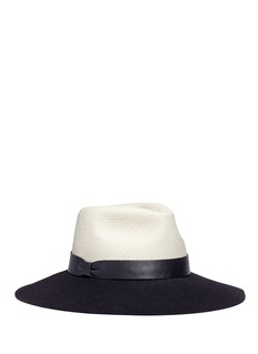 Lanvin Colourblock rabbit furfelt and straw hat