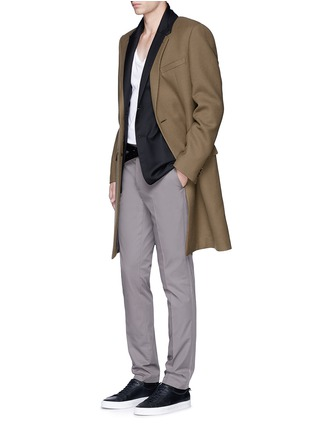 Figure View - Click To Enlarge - Lanvin - Slim fit contrast collar wool coat