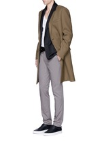 Slim fit contrast collar wool coat