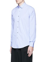 Slim fit contrast trim cotton shirt
