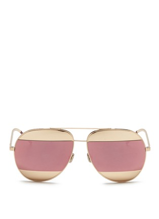 Main View - Click To Enlarge - Dior - 'Dior Split' inset metal aviator mirror sunglasses