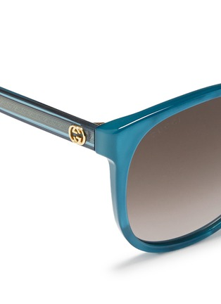 Detail View - Click To Enlarge - Gucci - Logo wire core pearlescent acetate sunglasses